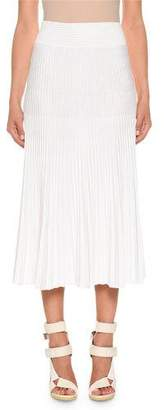 Agnona Plisse Ribbed Cotton-Silk A-Line Midi Skirt