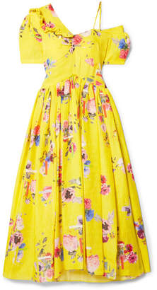Preen by Thornton Bregazzi Domino Floral-print Silk-blend Cloqué Midi Dress - Bright yellow