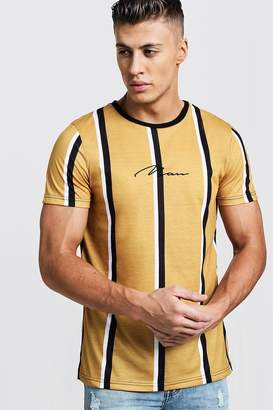 boohoo Mustard Stripe MAN Signature T-Shirt