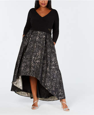 Xscape Evenings Plus Size Metallic Mesh-Trim High-Low Gown