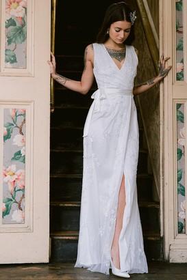 N. Rock Roll Bride Rock Roll Bride Stellar White Star Embroidery Maxi Dress