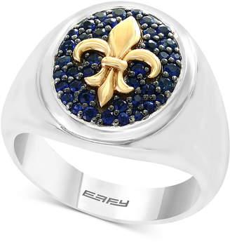 Effy Men's Blue Sapphire Fleur-de-Lis Ring (3/4 ct. t.w.) in Sterling Silver & 18k Gold