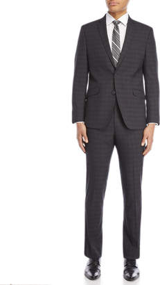 Kenneth Cole Reaction Two-Piece Grey Windowpane Ready Flex Suit