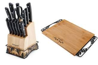 Pfaltzgraff 14-Piece Cutlery Set with Wire Base & Cutting Board