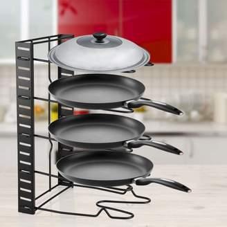 EECOO Multi Tiers Pan Organizer Rack Height Adjustable Pot Frying Pan Lid Storage Rack Bakeware Rack Pan Organizer Kitchen Cookware Stand Holder