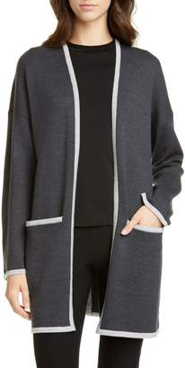 Eileen Fisher Contrast Border Merino Wool Cardigan