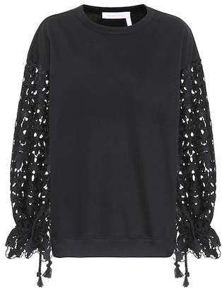 See by Chloe Lace sleeved cotton sweater