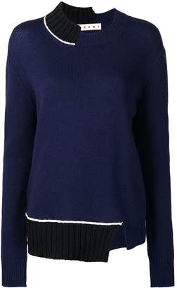 Marni asymmetric colourblock jumper