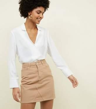 New Look Camel Denim Mini Skirt