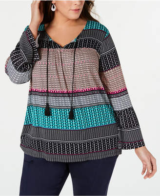 Style&Co. Style & Co Plus Size Geo-Print Peasant Top