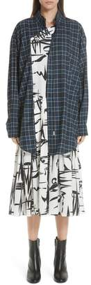 Balenciaga Plaid Overlay Silk Dress