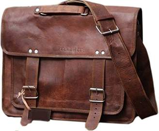 Touch of Leather 18 Inch Rustic Vintage Men Leather Messenger Bag Leather Laptop Bag Leather Briefcase Satchel Bag