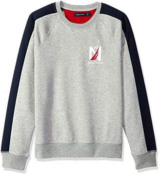 Nautica Men's Logo Color Block Crew Neck Fleece Sweatshirt
