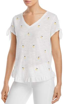 BILLY T Lemon Embroidered Tee