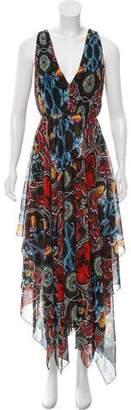 Alice + Olivia Printed High-Low Maxi Dress