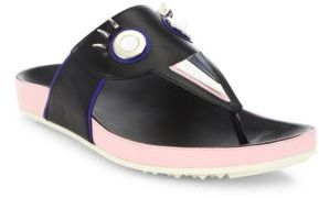 Fendi Faces Studded Leather Thong Sandals