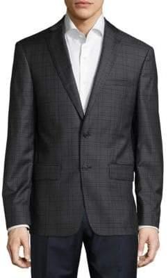 John Varvatos Regular Fit Checked Wool Sportcoat