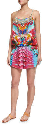 Printed Beaded Short Romper Coverup Camilla