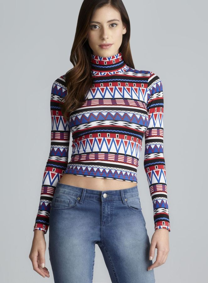 American Apparel Long Sleeve Cropped Stretch Print Turtleneck
