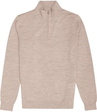 Blackhall - Merino Wool Zip Neck Jumper in Oatmeal