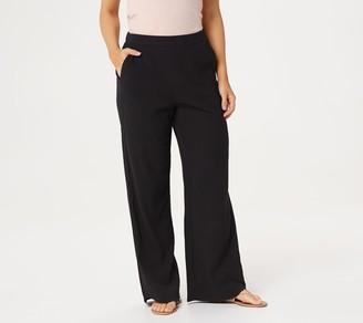 Denim & Co. Crinkle Gauze Wide-Leg Beach Pants w/ Curved Hem