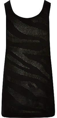 River Island Black slim fit knitted mesh vest