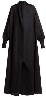 The Row Adesuwa High Neck Silk Gown - Womens - Black