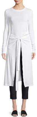 Rosetta Getty Long-Sleeve Apron Cotton Jersey T-Shirt