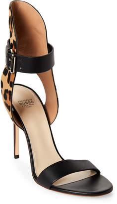 Francesco Russo Leopard Print Ankle Strap Sandals