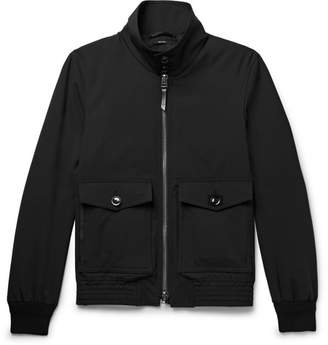 Tom Ford Leather-Trimmed Stretch-Wool Blouson Jacket