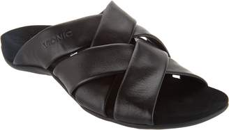 Vionic Suede Cross-Strap Slide Sandals - Juno