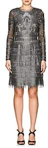 J. Mendel WOMEN'S FRINGED LACE COCKTAIL DRESS - SILVER SIZE 8