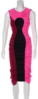 Emilio De La Morena Velvet-Paneled Silk Dress