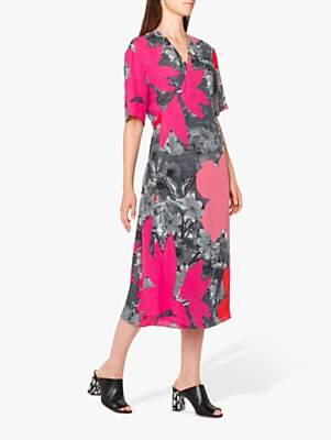 Paul Smith Large Floral Print Tie Back Midi Dress, Pink/Multi