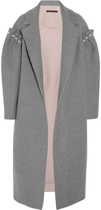 Mother of Pearl - Mitchell Oversized Embellished Bonded Wool Coat - Gray $1,395 thestylecure.com