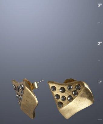 Paige Novick antique gold 'Remy' CZ stud earrings