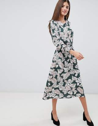 AX Paris Palm Print Midi Dress With Ruched Waist