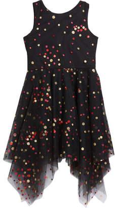 Zoe Girl's Dara Metallic Dot Print Mesh Dress, Size 7-16