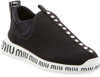 Miu Miu Jeweled Slip-On Trainer Sneakers