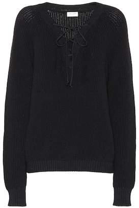 Saint Laurent Lace-up cotton sweater