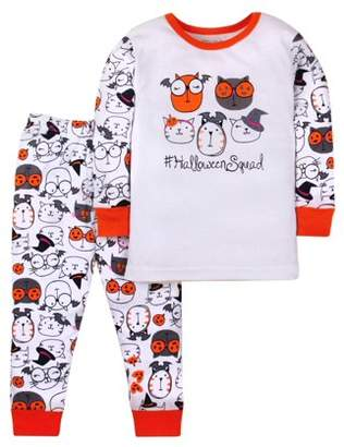 Little Star Organic Halloween Cotton Tight Fit Pajamas, 2-piece Set (Toddler Girls)