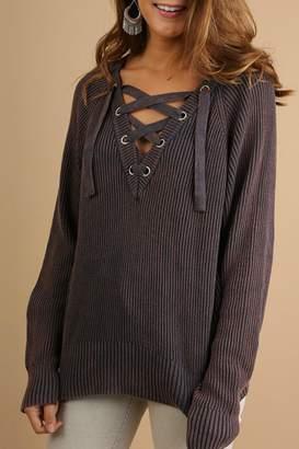 Umgee USA Drawstring V-Neck Sweater