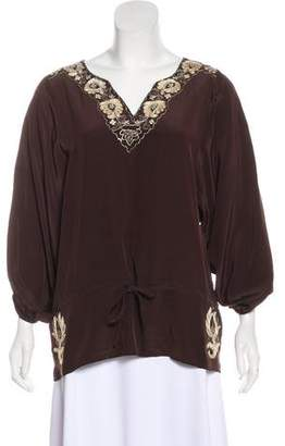 Joie Silk Embroidered Blouse