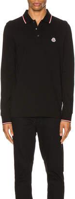 Moncler Maglia Long Sleeve Polo in Black | FWRD