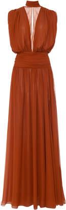 Oscar de la Renta Pleated Silk-Chiffon Gown