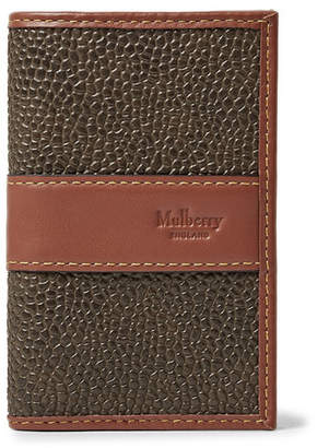 Mulberry Leather-Trimmed Pebble-Grain Coated-Canvas Bifold Cardholder - Army green