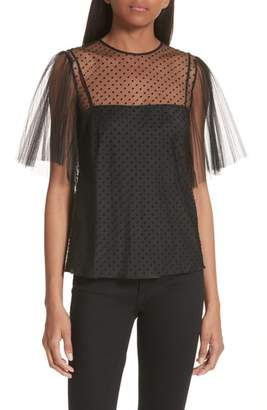RED Valentino Point d'Esprit Mesh Sleeve Top