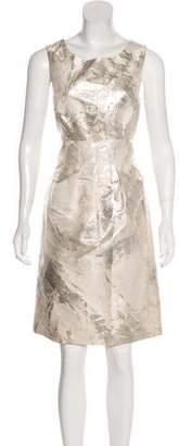 Lela Rose Sleeveless Brocade Knee-Length Dress