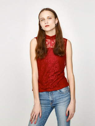 Moussy (マウジー) - MOUSSY HI NECK LACE N/S TOPS マウジー カットソー