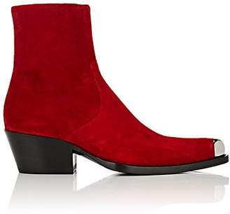 Calvin Klein Women's Metal-Tipped Suede Ankle Boots - Red Size 6.5